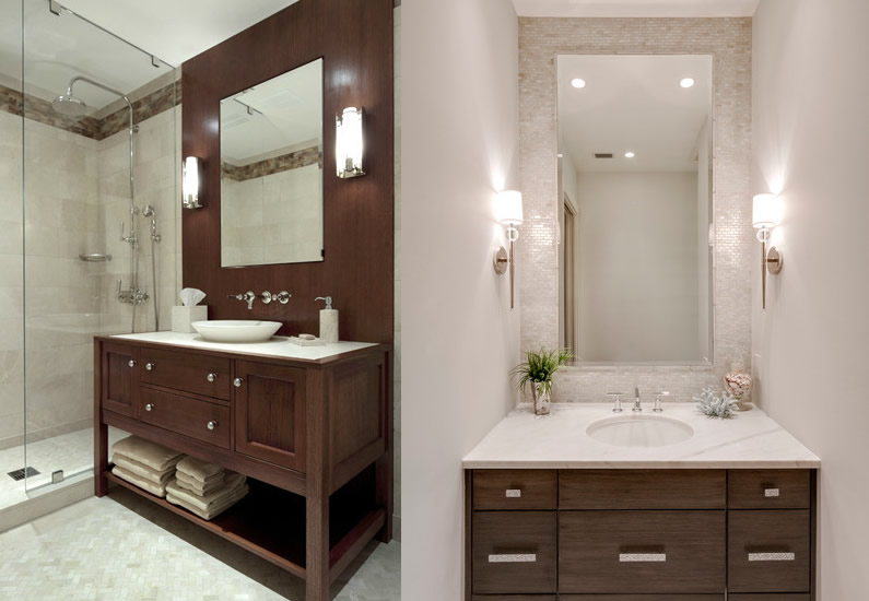 Vanity lighting light from sconces should be softly flattering yet bright enough to shave like the light provided by this pair of fixtures framing a recessed medicine aloadofball Image collections